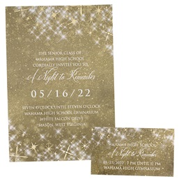 Foil Invitation and Ticket Set - Gold Twinkle