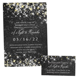 Foil Invitation and Ticket Set - Black Twinkle