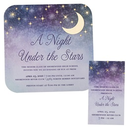 Foil Invitation and Ticket Set - Pastel Sky and Moon
