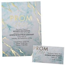 Foil Invitation and Ticket Set - Teal Marble Prom 2020