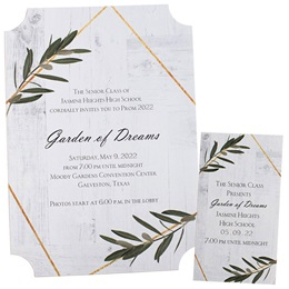 Invitation and Ticket Set - Garden Leaves
