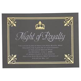 Royal Flair on Gray Invitation