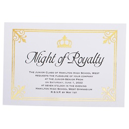 Royal Flair on White Invitation