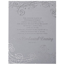 Star Swirls on Silver Invitation