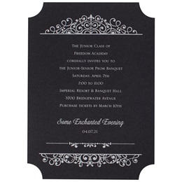 Black Vintage Charm Invitation