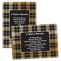 "5"" x 7"" Invitation - Gold and Black Plaid"