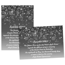 5x7 Invitation - Black Bubbles & Stars