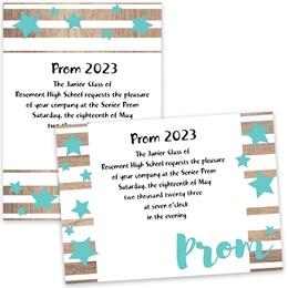 Teal Prom and Stars 4x6 Invitation