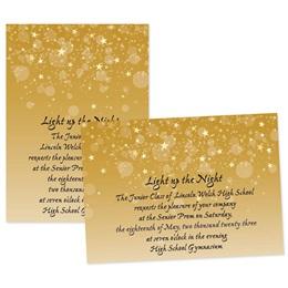 Gold Bubbles and Stars 4x6 Invitation