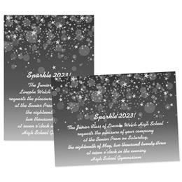 Black Bubbles and Stars 4x6 Invitation