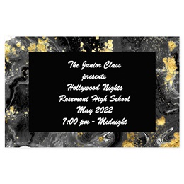 Full-color Ticket- Black and Gold Marble