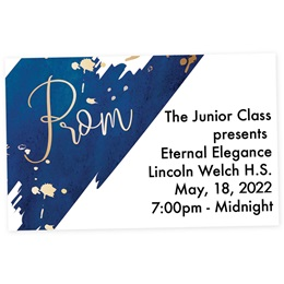 Full-color Ticket - Script Prom on Blue