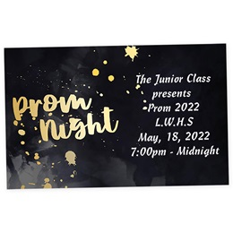 Full-color Ticket - Gold Splatter Prom Night