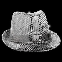 Light-up Silver Fedora with Band