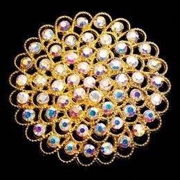Gold Floral Iridescent Sash Pin