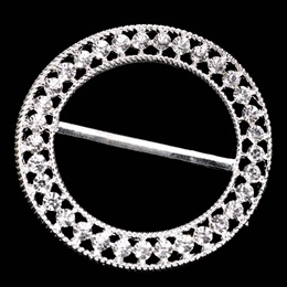 Rhinestone Sash Buckle - Silver
