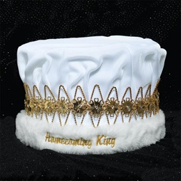 Homecoming King Embroidered Crown - Gold Floral Band