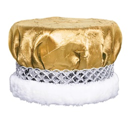 Gold Crushed Satin Crown - Silver Band