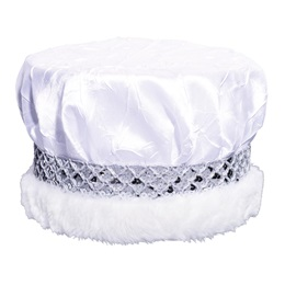 White Crushed Satin Crown - Silver Band