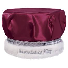 Embroidered Homecoming King Crown - Burgundy Satin/Silver Band