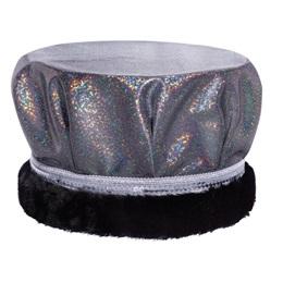 Glitter Dust Crown - Black/Silver With Black Fur