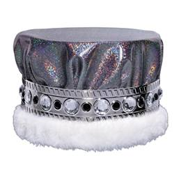 Glitter Dust Crown With Jeweled Band - Black/Silver With White Fur