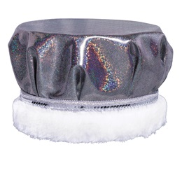 Glitter Dust Crown - Black/Silver With White Fur