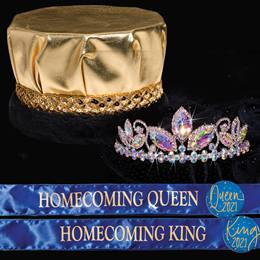 King and Queen Homecoming Set - Tayor Tiara/Metallic Crown