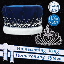 Homecoming Royalty Set with Sashes and Buttons - Celia Tiara/Majestic Star Crown