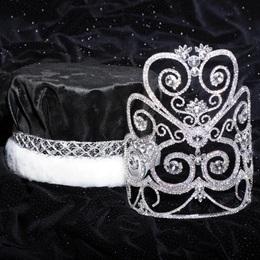 Majestic Tiara and Crown Set - Silver Rose Marie/Crushed Satin Crown
