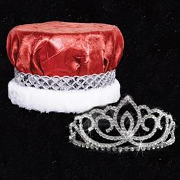 Homecoming Royalty Set - Sasha Tiara/Red Crushed Satin Crown