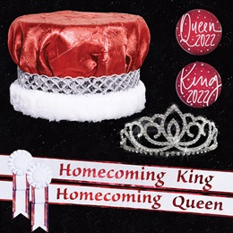 Homecoming Royalty Set with Sashes and Buttons - Sasha Tiara/Red Crushed Satin Crown