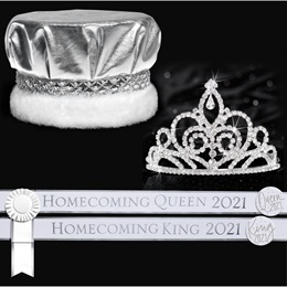 Homecoming Royalty 2020 Set with Sashes and Buttons - Sutton Tiara/Metallic Crown