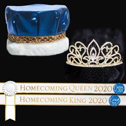 Homecoming 2020 Royalty Set with Sashes and Pins - Gold Adele Tiara/Metallic Crown