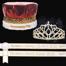Homecoming Year Royalty Set with Sashes and Pins - Gold Mirabella Tiara/Metallic Crown