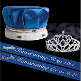 Homecoming Year Royalty Set with Sashes and Pins - Mirabella Tiara/Satin Crown