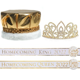 Homecoming Year Royalty Set with Sashes and Buttons - Gold Adele Tiara/Metallic Crown