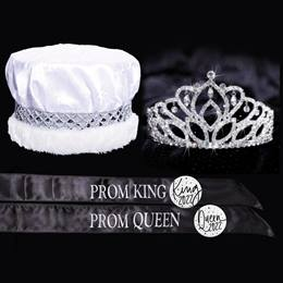 Crushed Satin Prom King and Queen Set - Mirabella Tiara