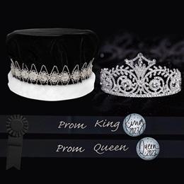 Royalty Set: Elsa Tiara with Black and Silver Sashes