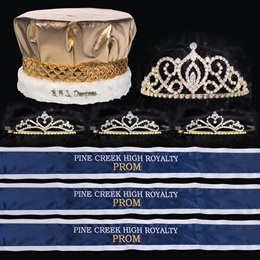 Custom Royalty Court Set - Gold Cameo Perfect Tiara/Metallic Crown