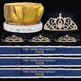 Custom Royalty Court Set - Gold Cameo Perfect Tiara/Satin Crown