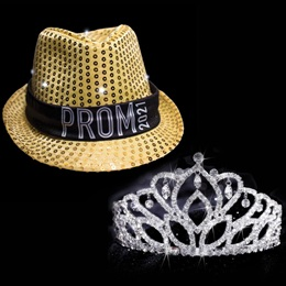 Light-up Prom Fedora and Mirabella Tiara Set