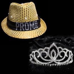 Light-up Prom Fedora and Sasha Tiara Set