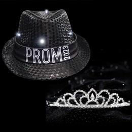 Light-up Prom Fedora and Sissy Tiara Set