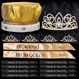 King and Queen Prom Coronation Set with Pins - Gold Adele/Chelsey
