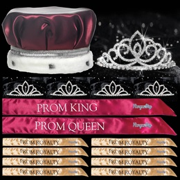 King and Queen Prom Coronation Set with Pins - Sharona/Chelsey