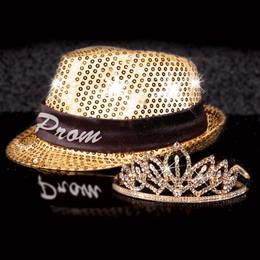 Light-up Fedora and Gold Toni Tiara Set