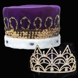 Gold Darlene Tiara and Velvet Crown Set