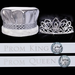 Royalty Set: Adele Tiara with White and Silver Sashes