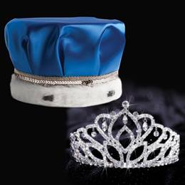 Mirabella Tiara and Crown Set - Blue Satin